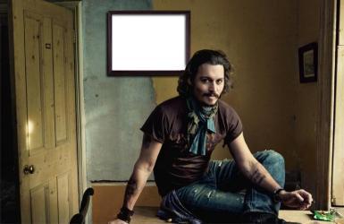 Звезды, журналы. Рамка, фотоэффект: И снова Джонни Депп. Голливудский актер делает фото на фоне Вашего портрета.