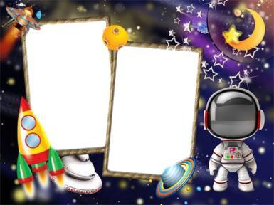 Всемирный день авиации и космонавтики. Стану космонавтом!. Фоторамка для двух фото. ракета, скафандр, звезды.