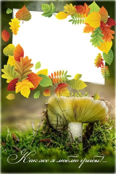 Фоторамка Как же я люблю грибы! Фоторамка для фото, Фоторамка грибника, сыроежка во мху. Рамка с фото - в осенних листьях.