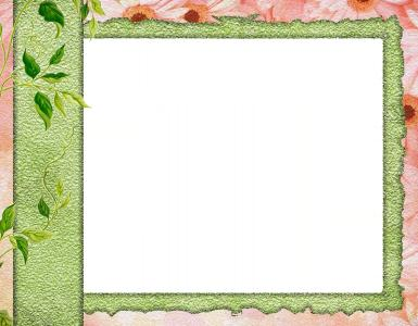 Рамки для текста. Рамка, фотоэффект: Летнее фото. Строгая, но стильная фоторамка. Фон - розовые цветы, обрамление - зеленая лента, приятно контрастирующая с фоном. Веточка с листьями.