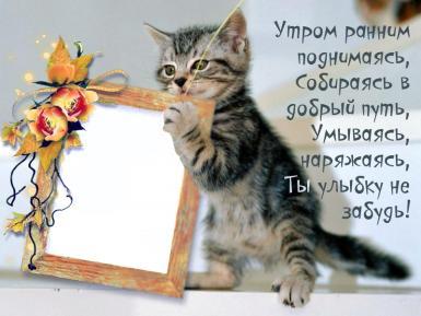 День смеха. С добрым утром!. Открытка на каждый день. Утром рано поднимаясь ты улыбку не забудь. Наряжаясь, умываясь - улыбнуться не забудь! Котенок держит в лапках рамку с Вашим фото.