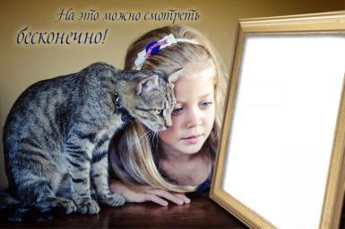 День смеха. Я могу смотреть на это бесконечно. Открытка-розыгрыш. Девочка и кошка смотрят на рамку с Вашим фото.