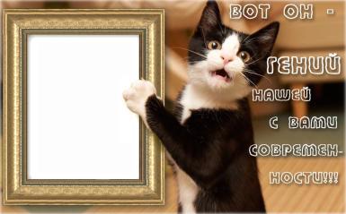 День смеха. Гений современности. Забавная открытка-фоторамка на 1 апреля. Котенок держит в руках рамку.