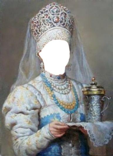 Фэнтези, картины. Рамка, фотоэффект: русская красавица. Боярышня с подносом