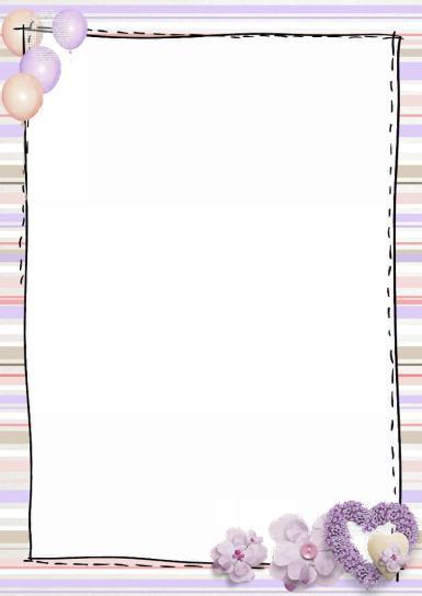 Рамки для текста. Рамка, фотоэффект: Лиловые сердца. Стильная рамка для текста, полоски, текстильные цветы, сердце.