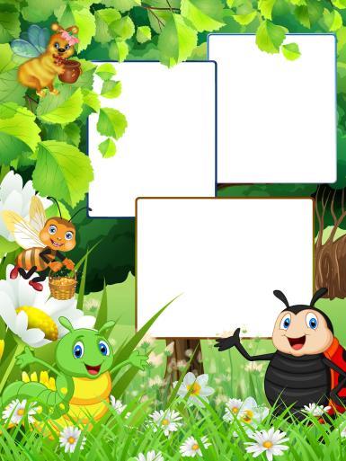 Прочие детские рамки. Рамка, фотоэффект:  Мультяшные насекомые.. Божья коровка, гусеница, пчелка, мультфильм, мультипликация, дети, детство, насекомые, изучаем наш мир, прекрасная природа
