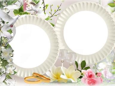 Свадебные. Рамка, фотоэффект: свадебные кольца. свадебная идиллия, розовые розы, нежные цветы, влюбленные, свадьба, венчание, обручальные кольца, ЗАГС, молодожены, нежность и любовь