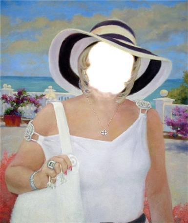Фэнтези, картины. Рамка, фотоэффект: С приближением лета. ходить по городу с пляжной сумкой, статная женщина, девушка в шляпе, отдых на море, оторваться в одиночестве