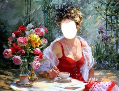 Фэнтези, картины. Рамка, фотоэффект: женщина мечта. я хочу быть твоей Богиней, девушка в красном платье, букет на столе, букет в вазе, девушка с картины, картина