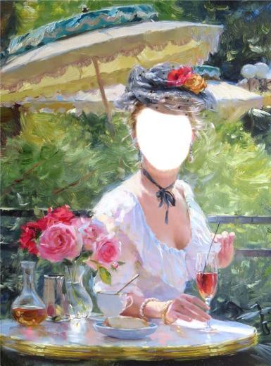 Фэнтези, картины. Рамка, фотоэффект: блестящие, девушка. картины разумова, розовые розы в вазе, девушка с зонтиком, девушка с картины, летняя дама