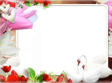 Свадебные. Рамка, фотоэффект: Два сердца. Два сердца, лебеди, красные тюльпаны, цветы, любовь, романтика, свадьба