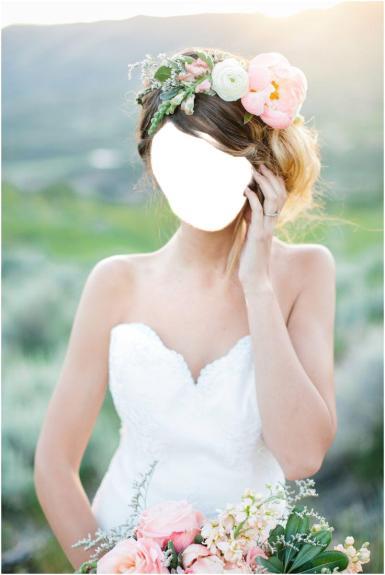Свадебные. Рамка, фотоэффект: Красива невеста. невеста, летняя свадьба, весенний образ, белое платье, девушка, красивые ободок, цветы в волосах