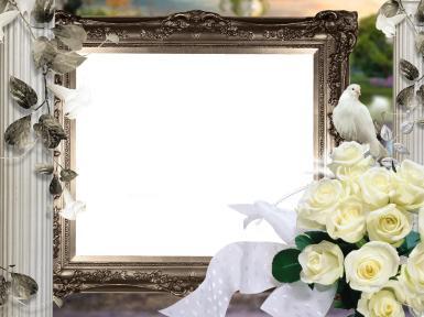 Свадебные. Рамка, фотоэффект: свадебный букет невесты. Свадебный букет, голуби, розы, свадьба, торжество, праздник, молодожены, невеста,  обряды, сопровождающие заключение брака, переезд невесты из дома родителей в дом жениха