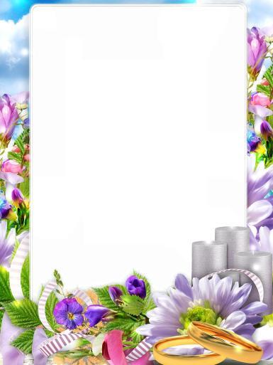 Свадебные. Рамка, фотоэффект: свадебная идиллия. Весенний пейзаж, сиреневые цветы, фиалки, тюльпаны, весна, лето, природа, букет, Радужная палитра этих прекрасных цветов поднимет настроение