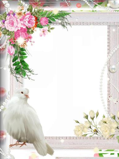 Свадебные. Рамка, фотоэффект: свадебный голубок. Свадьба, невеста, жених, молодожены, голубь, цветы, бусины, жемчуг, букет, обряды, сопровождающие заключение брака, одно из самых ярких событий в жизни