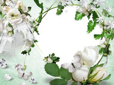 Свадебные. Рамка, фотоэффект: день свадьбы. Скрап, бабочки, стразы, бриллианты, белые розы, цветы, растения, природа, белоснежная рамка, свадьба, молодожены, Счастлив, кто смело берет под свою защиту тех, кого любит