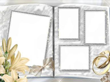 Свадебные. Рамка, фотоэффект: как сделать свадебный альбом. лилии, цветы, обручальные кольца, свадьба, молодожены, супруги, венчание, торжество, любовь, с милым рай и в шалаше Да, вполне возможно! А вот без любви прожить И на вилле сложно!