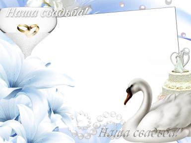 Свадебные. Рамка, фотоэффект: наша свадьба. Наша свадьба, лебеди, кольца обручальные, свадебный торт, цветы, С любовью легче жизнь пройти - Об этом каждый знает. Согласья в жизни достигайте, Живите до ста лет