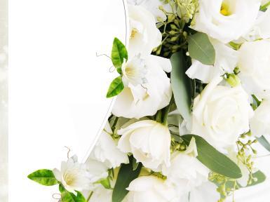 Свадебные. Рамка, фотоэффект: белоснежные цветы. свадебное платье
