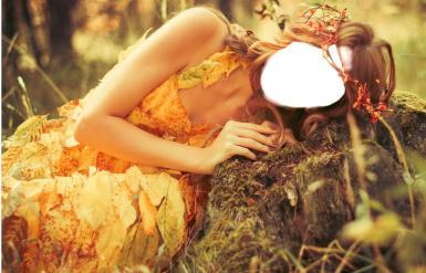 Фэнтези, картины. Рамка, фотоэффект: Коллаж в стиле фэнтези. Женский коллаж. Осенний лес, венок, листья. Лесная фея.