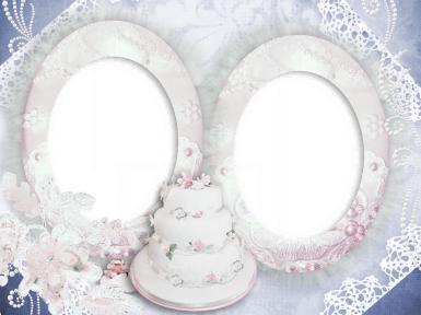Свадебные. Рамка, фотоэффект: Двойная фоторамка с тортом. Белые овальные рамки, свадебный торт. Кружева, жемчуг.
