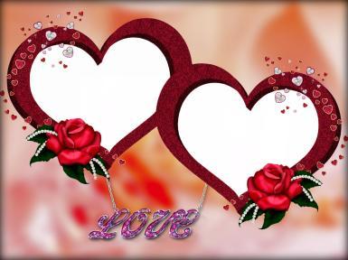 Фоторамка для влюбленных. Двойная фоторамка в форме сердец. Красные розы, надпись