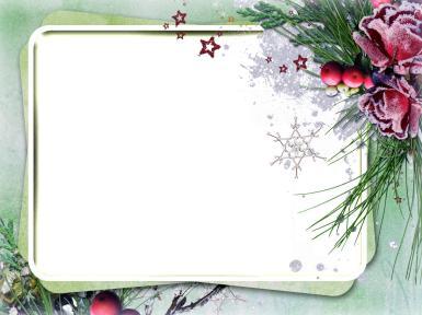 Рамки для текста. Рамка, фотоэффект: Морозная рамка. Стильная и изящная фоторамка с цветами. Иней на цветах. Снежинки, декоративные звездочки. Зеленый фон.