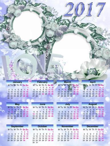 Свадебные. Рамка, фотоэффект: Календарь 2017 для любимых (англ.). Календарь с рамками для двух фото. Цветы, круглые рамки, надпись LOVE