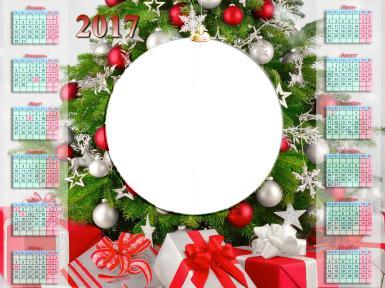 Фигурные рамки. Рамка, фотоэффект: Календарь - новогодний подарок. Новогодний календарь 2017 с Вашим фото. Елка, коробки с подарками, банты, елочыне игрушки, красные и белые шары.