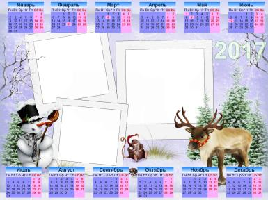 Прочие детские рамки. Рамка, фотоэффект: Календарь на Новый год 2017. Тройная фоторамка, сиреневый фон, снеговик, олень, хорек.