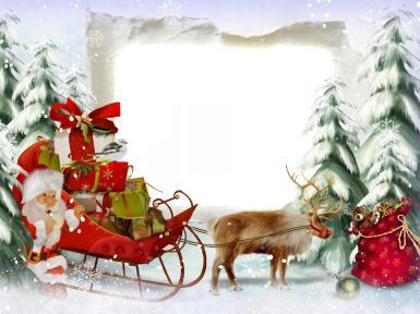 Прочие детские рамки. Рамка, фотоэффект: Фоторамка с санями Деда Мороза. Новогодние сани деда мороза с кучей подарков. Зимний хвойный лес, елки в снегу.