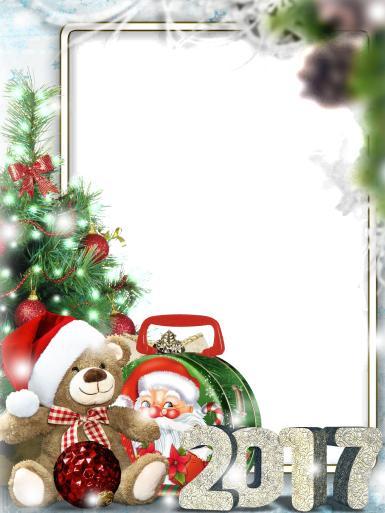 Прочие детские рамки. Рамка, фотоэффект: Дед мороз 2017. Мишка в шапке деда мороза, маленький дед мороз, новогодняя елка. Гирлянда и подарок.