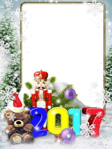 Прочие детские рамки. Рамка, фотоэффект: Рамка с надписью 2017. Одинарная рамка на 2017 год. Мишка в шапке деда мороза, щелкунчик, ветки ёлки и фиолетовые, новогодние шары.