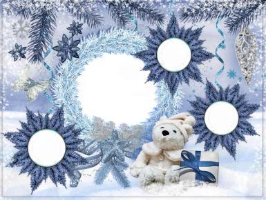 Прочие детские рамки. Рамка, фотоэффект: Я и мои дети - фоторамка. Новогодняя рамка для четырех фото. Рамки в виде елочных украшений. Снежинки, еловый венок, плюшевый мишка, подарки.