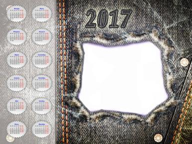 Джинсовый календарь на 2017 год. Оригинальное оформление календаря в виде джинсового материала, типичная оранжевая строчка. Все месяца на 2017 год.