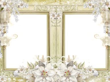 Двойная фоторамка с цветами. Бледно-золотистая рамка для двух фото. Золотистый фон, цветы, узоры.