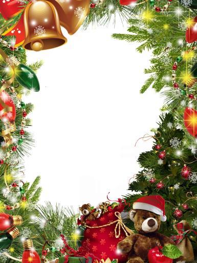 Прочие детские рамки. Рамка, фотоэффект: Фоторамка с плюшевым мишкой под елкой. Еловые ветки, нарядная елка, елочные игрушки, золотые колокольчики, красные банты, мешок с подарками, гирлянды, искры, лампочки, снежинки, бусы.