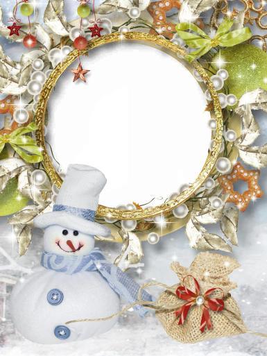 Прочие детские рамки. Рамка, фотоэффект: Фоторамка со снеговиком. Круглая рамка для фото. Снеговик, мешок с подарками, печенье в форме звезды, ленты, бусины, жемчуг, искры, снег, листья, банты, бусины.