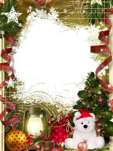 Прочие детские рамки. Рамка, фотоэффект: Новогодняя открытка с фото. Фоторамка к Новому году. Белый мишка в красной шапке, ленты, серпантин, елочные игрушки, елка, шары, фонарь, звезды, мешок с подарками.