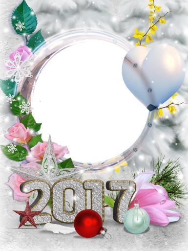 Фоторамка 2017. Новогодняя фоторамка с цифрами 2017. Розовые розы, снежинки, серебряная звезда, осенние листья, шарик в форме сердечка, елочные игрушки, стеклянные шары.