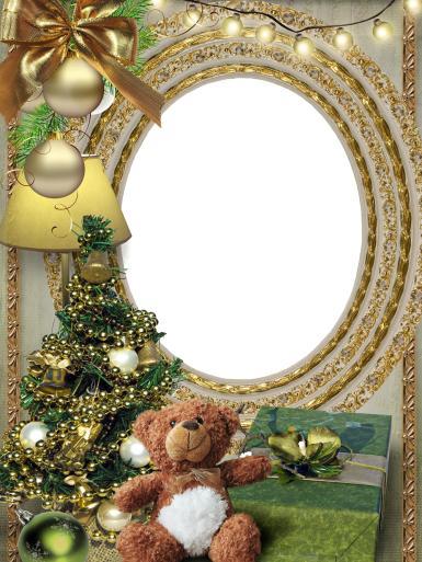 Золотая рамка с елкой и мишкой. Роскошная фоторамка к Новому году. Золотые украшения, елочные игрушки, стеклянные шары, нарядная елка, бусы, гирлянды, овальная рамка, плюшевый мишка, коробка с подарком.