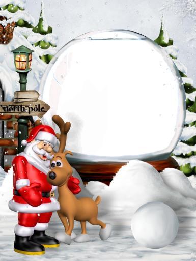 Прочие детские рамки. Рамка, фотоэффект: Фоторамка с новогодним сюжетом. Анимация - Дед Мороз (Санта Клаус) в обнимку с оленем. Дом Деда Мороза. Стеклянный шар. Комья снега. Елки в снегу.