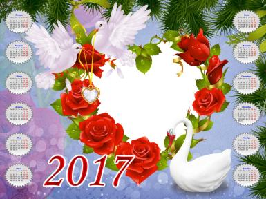 Календарь для влюбленных. Календарь с голубками и сердцем из красных роз. Ветки елки. Белый лебедь. Кулон в форме сердца.