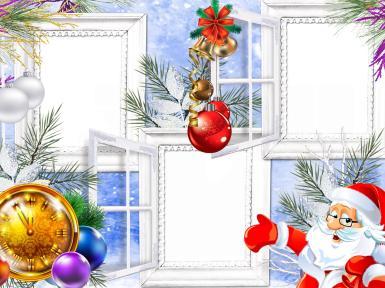 Тройная фоторамка с Дедом Морозом. Рамка для трех фото. Фотографии в окошках. Дед Мороз, Санта Клаус, золотые часы, елочные игрушки, разноцветные шарики, колокольчики, ветки елки, снег, зима, окна.