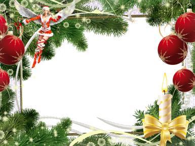 Рамка с новогодней феей. Новогодняя фоторамка. Фея в соблазнительном наряде снегурочки. Крылья ангела. Елочные игрушки, красные шары, елка, ветки, свеча, бант. Снежинки.