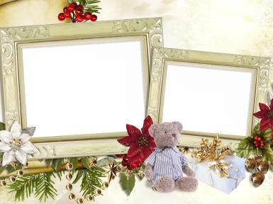 Прочие детские рамки. Рамка, фотоэффект: Двойная фоторамка с мишкой. Рамка для двух фото. Плюшевый мишка, декоративные красные и белые цветы, ветки, коробка с подарком, золотой бант, колокольчики, красные ягоды.