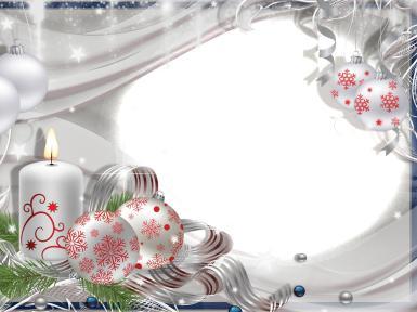 Светлая рамка. Рамка с овальным вырезом. Белые игрушки с рисунком снежинок из тончайших красных линий. Горящая свеча.
