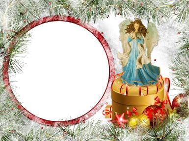 Фоторамка с ангелом. Рождественская открытка с вашим фото. Ангел, коробка с подарками, елочные игрушки, шары, елка.