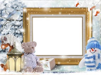 Прочие детские рамки. Рамка, фотоэффект: Зимняя фоторамка. Рамка для зимних фото. Плюшевый мишка, снеговичок, фонарь, огоньки, подарки, снег, елка, парк, рябина, птица, деревянная лошадка.