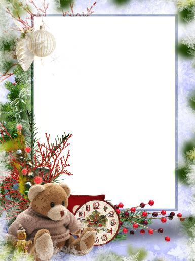 Прочие детские рамки. Рамка, фотоэффект: Новогодние каникулы. Фоторамка с плюшевым мишкой. Новогодние воспоминания. Механические часы, елка, снежинки, елочные игрушки, пряничный человечек, ягоды.